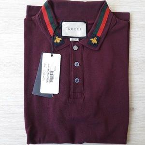 NEW GUCCI men burgundy casual polo shirt